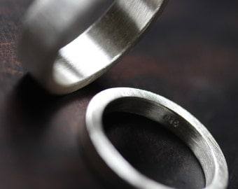 Modern Wedding Ring Set His and Hers Brushed Silver - Twogether