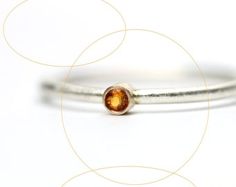 Minimalistic Golden Citrine Silver 14K Yellow Gold Ring Cute Delicate Stackable Summer Orange Sun Glow Gift Idea November Birthstone - Micro