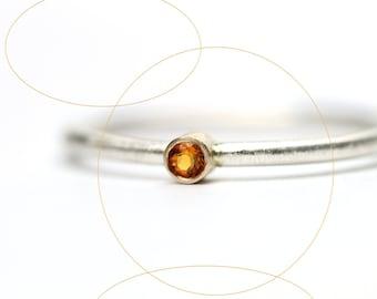 Minimalistic Golden Citrine Silver Gold Ring Delicate Summer Orange - Micro