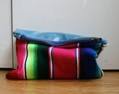 Italian leather and Mexican blanket cloth bag, lined small clutch bag On Sale
