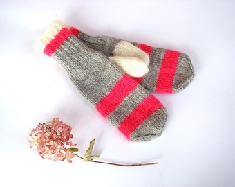 Winter accessory, pink women mittens, cute gift