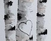 "Original Watercolor Painting-"" Birch Tree Heart"" Custom your own initials."