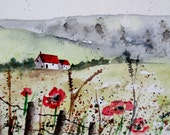 """Original Watercolor Painting- """"A Red Roof Top"""""""