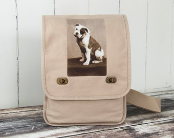 American Bulldog - Messenger Bag - Field Bag - School Bag - Stone Beige - Canvas Bag