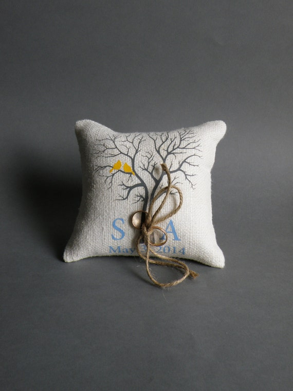 Wedding rustic natural linen Ring Bearer Pillow Royal Yellow Birds on grey tree and linen rope