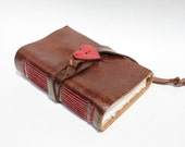 Brown Leather Journal, Leather Sketchbook, Leather Notebook, Travel Journal, Blank Book - Hostess Gift - Red Heart Love