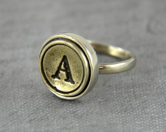 Personalized Typewriter Key Ring Silver Initial Ring Letter Ring