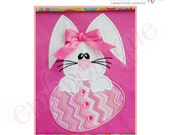 Bunny with Egg Applique - Large- Instant Email Delivery Download Machine embroidery design