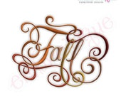 Fall Calligraphy Script Embroidery Design - Small- Instant Download -Digital Machine Embroidery Design