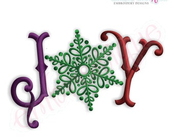 Joy with a Snowflake Holiday Embroidery Design - Small- Instant Email Delivery Download Machine embroidery design