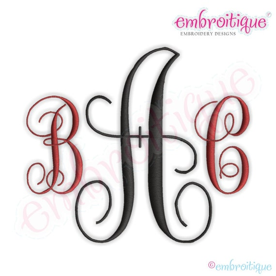 Fancy 1 Monogram Set- Machine Embroidery Font Alphabet Letters  -  Instant Download - Classic 3 letter Monogram