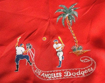 Vintage 50s 60s LOS ANGELES DODGERS Scarf • Red • Hand Painted