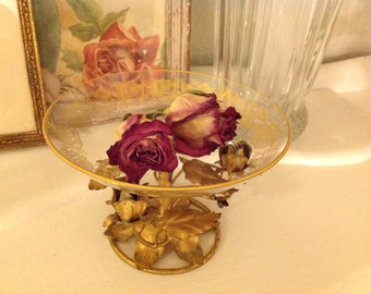 Italian Toleware Footed Glass Bowl ~ Vintage Gold Gilt Roses ~ Romantic Living ~ Beautiful Home Decor ~ Gift for Mom, Grandma, Daughter
