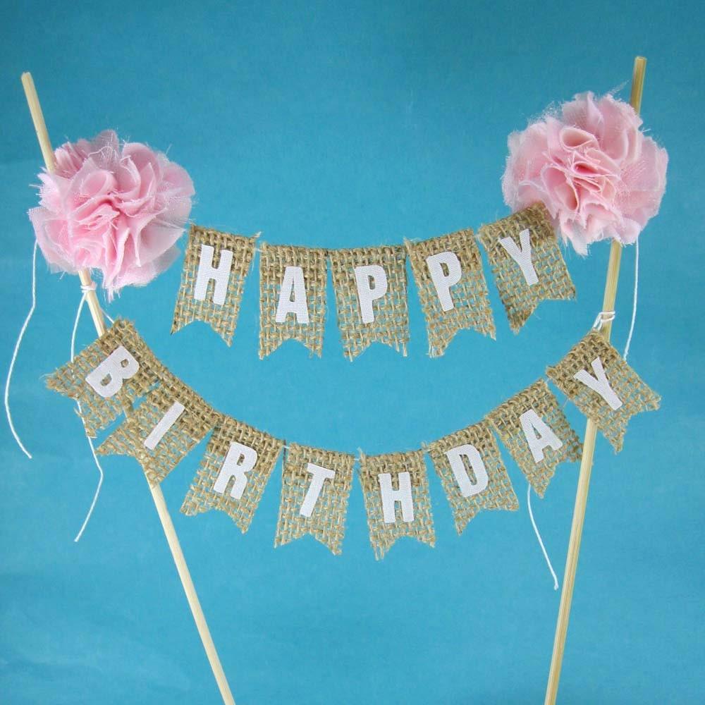 Rustic Burlap Cake Banner Pink Birthday Cake Bunting Cake