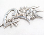 vintage sterling silver flower bouquet  with open heart pin / brooch nice sized