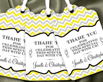 12 Favor Tags, Gift Tag, Chevron Stripes, Wedding, Bridal Shower, Baby Shower, Birthday Party, Lots of Colors