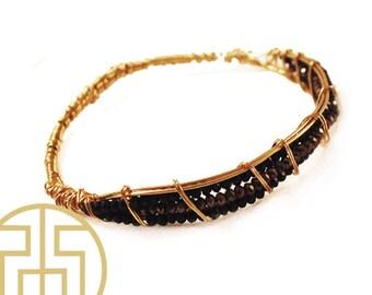 Black Wire Wrapped Crystal Bracelet, H13-43