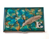 Personalized Business Card Case Ravens Feather Inlaid in Hand Painted Enamel in Turquoise Quartz Inspired Glossy Finish Customizable Colors
