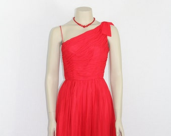 Red 1950's Vintage Party Dress - Red Silk Chiffon Full Skirt Cocktail Party Dress