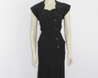 1950s Vintage Party Dress - Perfect LBD - Hourglass Silhouette Black Dress - 36 / 28 / 38