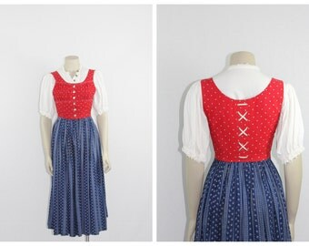 Late 1940s Early 1950s Vintage Dirndl - Red and Blue Dirndl Dress with Top and Under Skirt and Apron - 32 / 24 / full