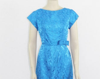 SALE......1960s Dress - Vintage Royal Blue Damask with Rhinestones Cocktail Party Dress - 35 / 28 / 38
