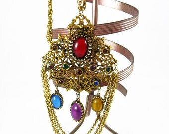 Big Gold Necklace, Multi Gemstone Necklace, Long Art Deco Necklace, Gold Long Chain Necklace, Art Nouveau Jewelry, Gold Filigree Necklace