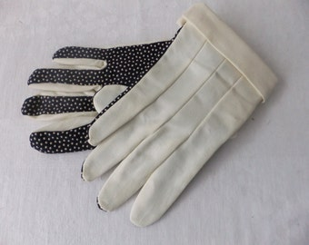 Vintage Gloves Off White Cream Navy Polka Dot Ladies Cotton Large Womens Retro Accessories Unlined