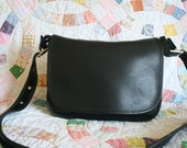Vintage BLACK Leather COACH Purse MESSENGER Large 9951