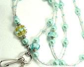 Custom listing for Beatriz,  Mermaid Beaded Lanyard ID Badge Holder: By The Sea theme with mermaid charm.