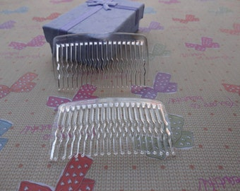 100 pcs Clear Color Plastic Hair Comb with 20 Teeth Barrette Pin 63x36mm