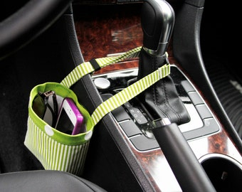 CAR CELLPHONE CADDY Lime Green Stripes and Polka Dots, iPhone Car Holder, Mobile Accessories, Beach Chair Caddy, Pool Chair Holder