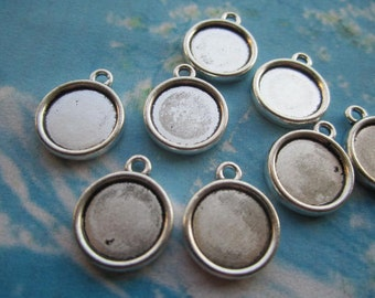 20pcs 14mm tibetan silver round picture/photo frame charms/pendants--fit 12mm cabochons