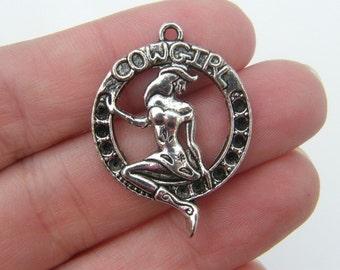 4 Cowgirl pendants antique silver tone HS31