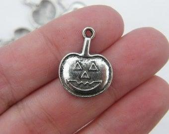 8 Halloween pumpkin charms antique silver tone HC171
