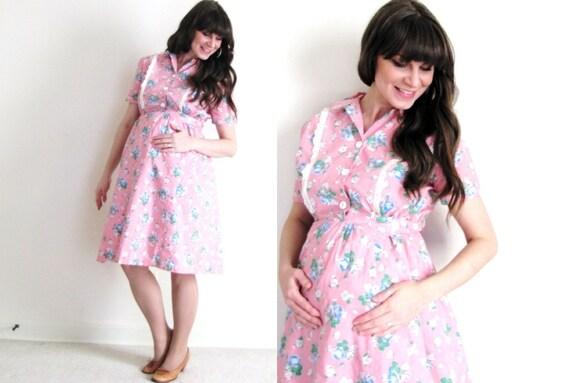 Maternity Dress / 1940s Pink Maternity Dress