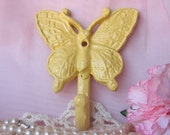 Sale - Cast Iron Butterfly Hook in Yellow