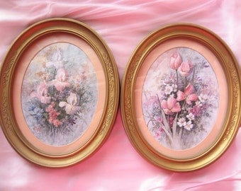 Shabby Chic Vintage Oval Floral Frames/ Home Decor/ Cottage Chic