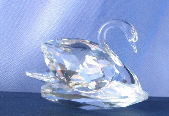 Vintage swarovski crystal swan figurine home decor woodland for Swarovski decoration crystals