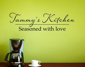 Custom Kitchen Wall Decal - Personalized Name Decal - Seasoned with love - Medium