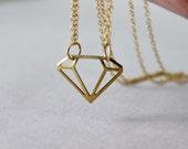 Geometric Necklace, Diamond Shape Pendant, Double Strand Necklace, Brass Jewelry, Modern Gift