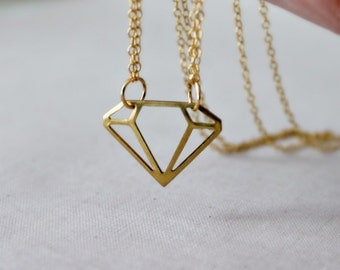 Geometric Necklace, Diamond Shape Pendant, Double Strand Necklace, Brass Jewelry, Modern Gift
