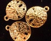 10pcs - gold  plated - Sand dollar - charms - pendants - sea - beach - nautical - Marine - water - nature