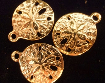 10pcs - gold  plated - Sand dollar - charms - pendants - sea - beach - nautical - Marine - water - nature