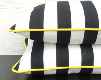 Black and white pillow cover modern home decor, black striped lumbar case, small stripe throw pillow with piping bohemian decor