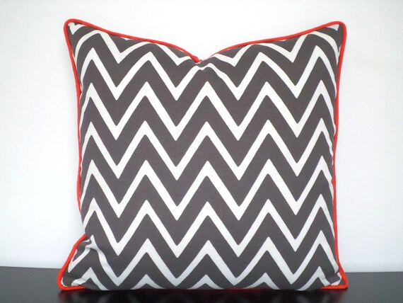 Gray outdoor pillow cover in 18x18, chevron cushion case for outdoor seating, geometric outside chair pillow accent piping grey and orange