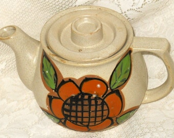 Vintage Teapot Oatmeal Color Handpainted Funky Flower Power