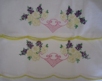 Pair Pillowcases Embroidered & Crocheted vintage NEW not hemmed