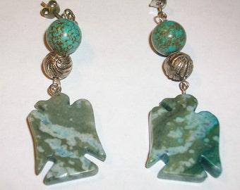 Thunderbird Earrings Blue and Green Jasper   Post Earrings               Free Shipping in the USA