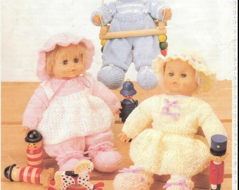SALE ***** KNITTING PATTERN - Doll/Preemie Baby Knitting Pattern - Trio of Outfits for Dolls 16 in Height